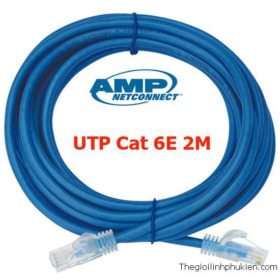 Patch cord UTP AMP cat6 2m, Dây nhảy Cat6 amp 2m