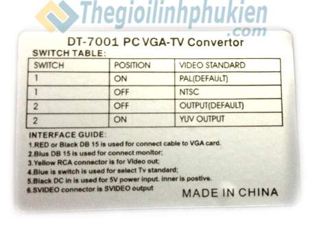 PC to TV  Dtech DT-7001